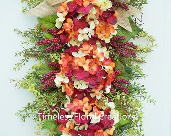 "Hydrangea Wreath Swag~""Berry Tangerine""~Summer into Fall~Front Door Swag~Rust~Timeless Floral Creations"