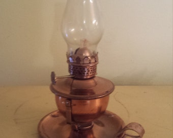 Vintage Mini Oil Lamp, Copper, Glass Shade, Pivoting, Finger Lamp, Wall Mount
