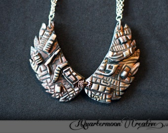 SteamPunk, Art Nouveau, Silver, Copper, Gold, Bronze, Metallic, Polymer Clay, Alien, ScFi, Art Jewelry, Wearable Art, Bio Mechanical
