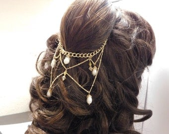 Belle Cosplay Gold Chain Headpiece