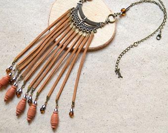 Long Fringes Necklace - Boho Style - Unique - Handmade