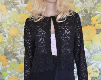 Widow - black lace cardigan - 90s black lace top - 90s sheer cardigan - black scalloped lace top - Clueless style top - dressy lace cardigan