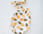 Pineapple Crush - newborn halter romper in a fun pineapple print in yellow, orange, green and white (RTS) with knot tie headband