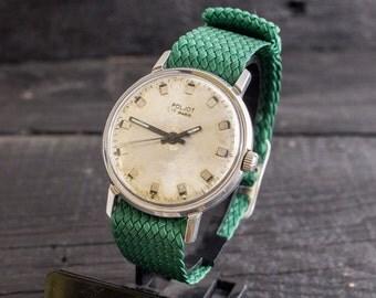 Vintage rare stainless steel Poljot mens watch, soviet mechanical watch, vintage mens watch, vintage russian watch, ussr cccp