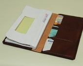 handmade leather cheque book case , business card case