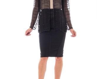 1970s Black Sheer Chiffon Beaded Open Cardigan Top Size: OS