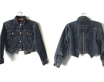 Crop Top Biker Denim Jacket - Dark Acid Wash 90s Jordache Grunge Bow Accent Cropped Jean Jacket - Womens XS / S