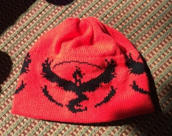 Team Valor Red with Black Beanie Hat - Large