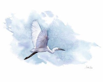 Great Egret Flying Watercolor Painting - Archival giclee print - Nature illustration, Wildlife art, Blue bird Wall Art