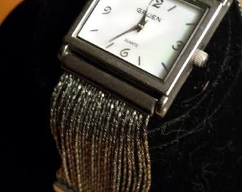 Vintage Gruen Watch Unique Band Mother of Pearl Face