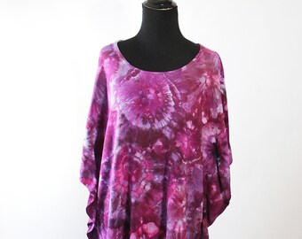 Medium Lady's Tunic, Ice Dyed Tie Dyed in Shades of Purple,  Agate Design. Ready To Ship