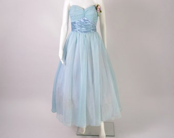 Vintage 1950s 50s Strapless Prom Party Dress Designer Fred Perlberg