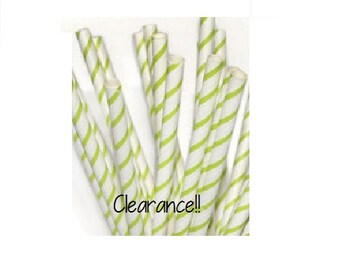 Lime Green Thin Striped Paper Straws