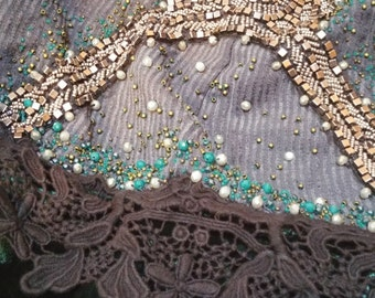 READY TO SHIP Cloak in Deep Forest tones Green Gray bead embroided