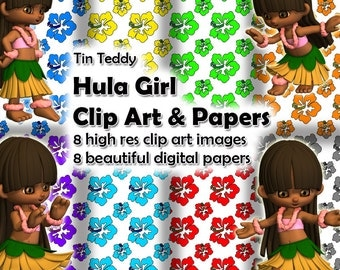 Hula Girl Clip Art and Digital Papers - 8 Hawaiian dance clip art images & 8 hibiscus flower printable papers Hula clip art Hawaiian flower