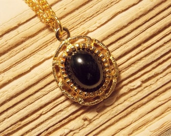 Black and Gold Charm Drop Necklace