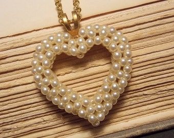 Gold and Pearl Vintage Heart Necklace