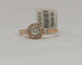 14 Karat Rose Gold Handmade Diamond Halo Engagement Ring