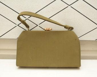 Vintage Green Handbag Purse with Goldtone