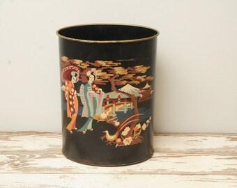 Hand painted Geisha Metal Trash Can Black