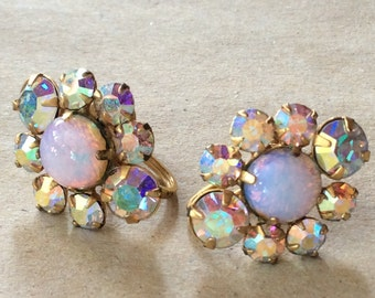 Sale- Vintage Aurora Borealis Rhinestone Screwback Earrings