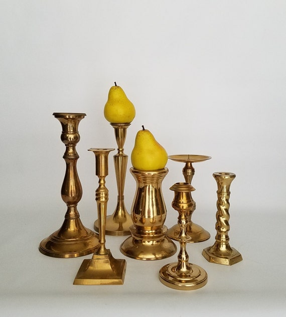 Vintage Brass Candlestick, Tall Brass Candle Holder Collection Set Of 7 Wedding Table Decor Candelabra