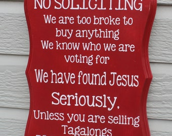 No Solicitation Sign (funny sign, thin mints, samoas)