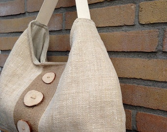 Recycled antique linen tote bag with burlap, shoulder bag