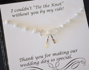 11 Bridesmaid Tie the Knot Pearl Necklace, Bridesmaid Gift, Sterling Silver Bow,  Knot Necklace, Thank you card, Pearl Necklace, Ribbon