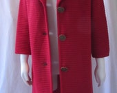Vintage 1960's Red Wool Knit Sweater Coat a Carol Brent Original made in USA
