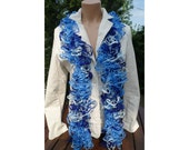SALE FLAMENCO SCARF White, Black & Grey Loopy Ruffle Flounce Boa CanCan scarf Made by order 21354