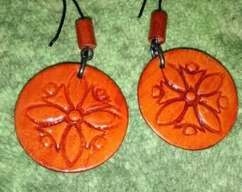 Tribal Wood Designed Glazed Earrings
