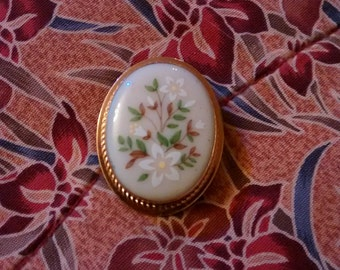 Lenox Brookdale 14 KT Gold Filled Ivory China Brooch/Pin Exquisite Beauty