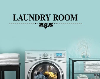 Damask Theme Laundry Room -  Vinyl Wall Lettering Decal LARGE size options 39+ Colors