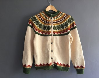 1950s Norweigan Hand Knitted Fair Isle Cardigan