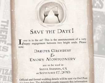 Harry Potter Save the Date // Book Wedding // Chapter Invite // Digital Invitations // Geeky Wedding // Custom Wedding Invite