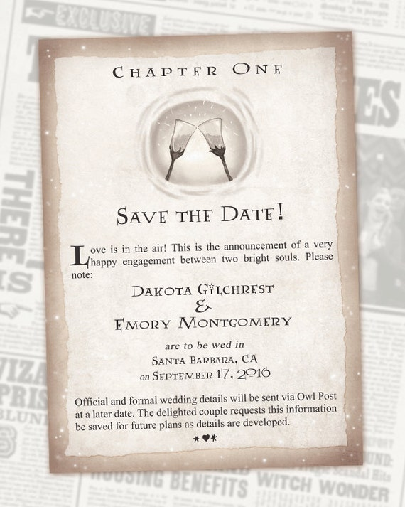 Harry Potter Book Dates ~ Harry potter save the date book wedding chapter invite
