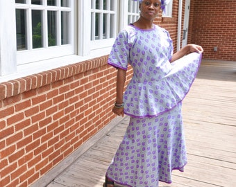 African Print Skirt and Top Set in Purple and Grey