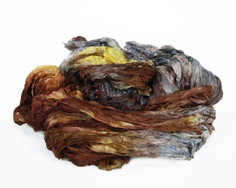 brown silk scarf - Forestr bird -  brown,grey, yellow silk scarf.