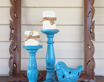 Bold Blue Bird Theme Candle Holder Grouping - Set of 3 Table Top Pillar Candle Holders - Cottage Chic Beach Mantel Dining Table Decor