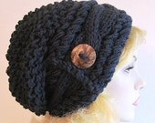 Slouchy Beanie Slouch Cable Hats Oversized Baggy Beret Button womens fall winter accessory Navy Blue Super Chunky Hand Made Knit