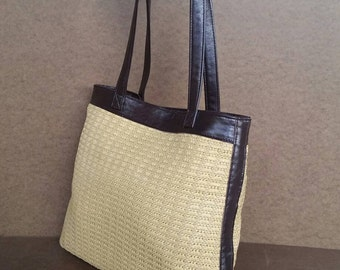 Tote Bag, Casual Weekend Shoulder Purse, Trendy Tote Woman Purse, Raffia and Leather Handbag, Yoselyn