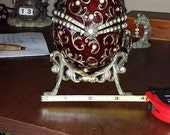 Vintage red enamel egg music box - perfect condition - Ready To Ship