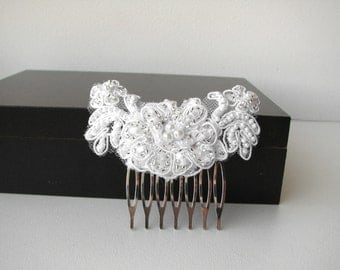 Bridal lace hair piece White hair comb Wedding hair piece Beaded lace