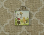 Winnie the Pooh and Christopher Robin storybook charm pendant soldered art pendant charm