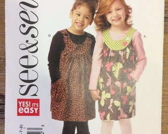 UNCUT Girl's Dress, Jumper Pattern Size 2-3-4-5-6-7-8 See & Sew B5904 Toddler, Baby, Easy Dress