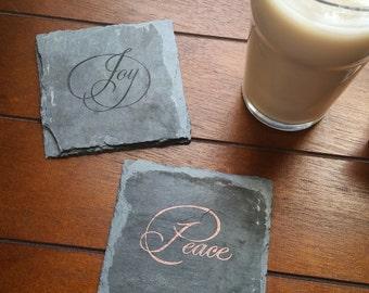 Peace, Love, Hope, Joy Slate Coasters (Set of 4) Holidays, Birthday, Christmas