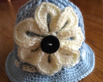 Baby Crochet Panama Hat, Clouche hat, Easter Hat, Flower Hat, Spring Hat