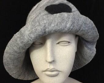 Grey Merino Wool Felt Hat with Heart