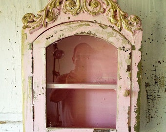 Distressed cabinet display wall hanging ornate pink chippy painted shelf glass door shabby cottage chic gold accent decor anita spero design